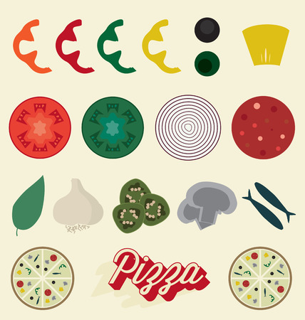 Pizza Toppings Collection Vectores