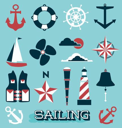 Set of Sailing Icons and Symbols 向量圖像