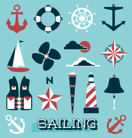 Set of Sailing Icons and Symbols Stock Illustratie