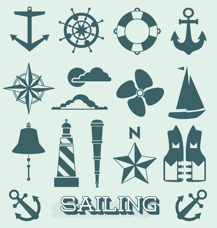 Set of Sailing Icons and Symbols Vector