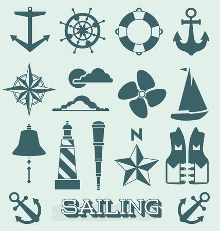 coastal: Set of Sailing Icons and Symbols Illustration