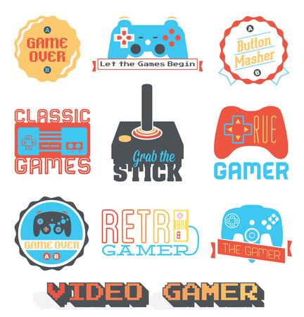 レトロなビデオゲームの店ラベル