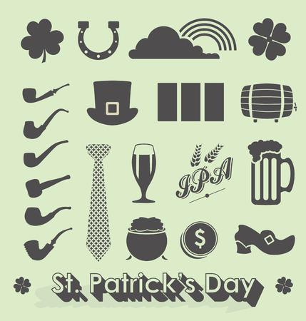celtic shamrock: Set of St Patricks Day Icons and Symbols