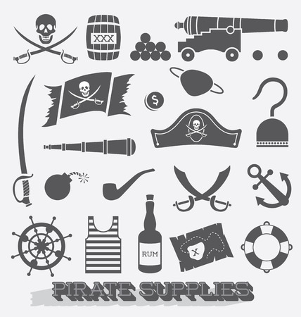 top gun: Set of Pirate Supplies Icons and Symbols