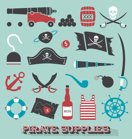 Set of Pirate Supplies Silhouettes and Icons Vector