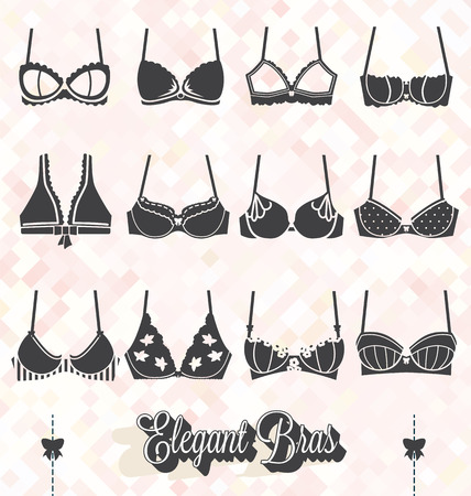 Vector Set of Bra and Bustier Silhouettes Stock Illustratie