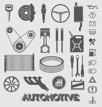 자동차 부품 및 아이콘 세트 일러스트