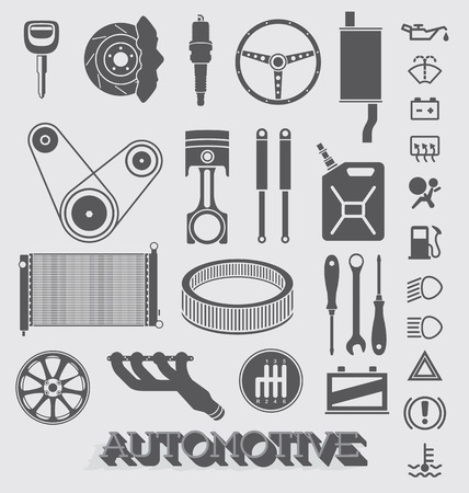 Set of Automotive Parts and Icons Vector