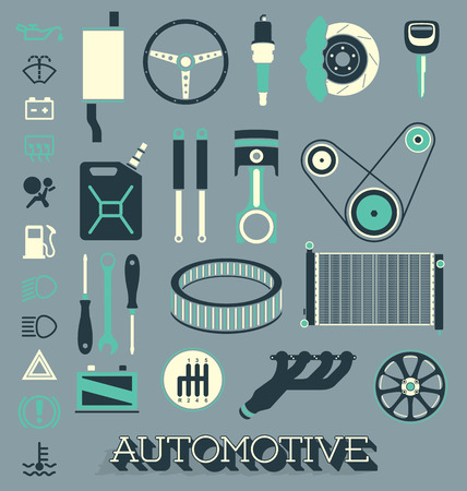 Set of Automotive Parts Icons and Symbols Illustration