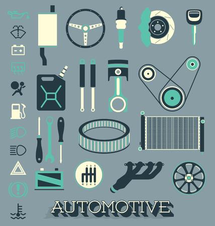 Set van auto-onderdelen, iconen en symbolen Stock Illustratie