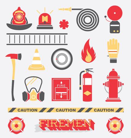 tűzoltó: Állítsa be a Tűzoltó Flat ikonok és szimbólumok