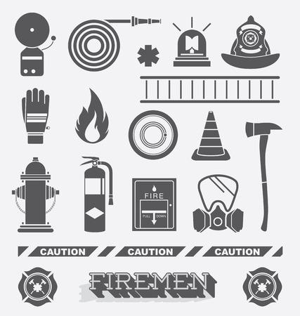 bombero de rojo: Conjunto de planos bombero Iconos y símbolos Vectores