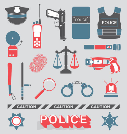 Set of Police Officer and Detective Icons Vector
