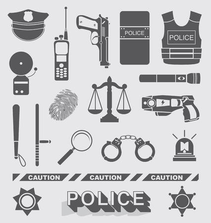 gorra policía: Conjunto de oficial de policía y detectives Icons