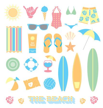 Set of Beach Fun Objects