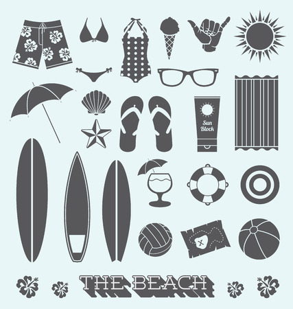 Set of Under the Sun Beach Icons Vector