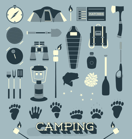Vector Set of Camping and Outdoors Icons and Symbols Vector