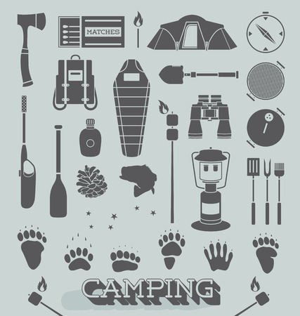 camp fire: Vector Set of Camping and Outdoors Icons and Symbols Illustration