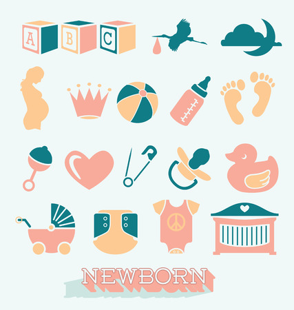 baby footprint: Vector Set of Newborn and Baby Icons and Symbols