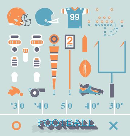 campo di calcio: Vector set di calcio attrezzature icone e simboli Vettoriali