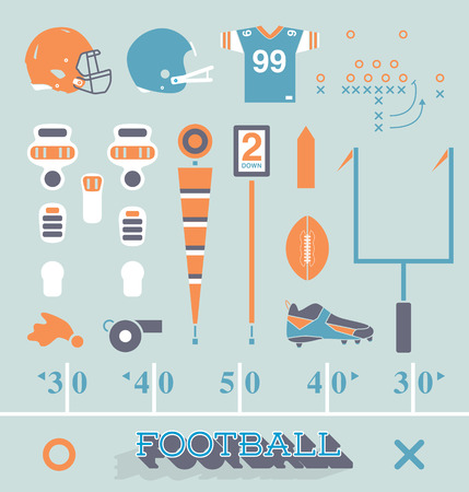 goals: Vector Set of Football Equipment Icons and Symbols