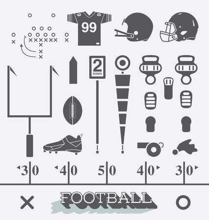 amerikalılar: Futbol Ekipmanları Simgeler ve Semboller Vektör Seti