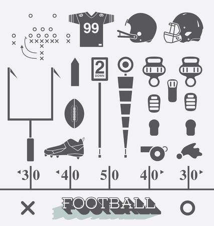 helmet: Vector Set of Football Equipment Icons and Symbols