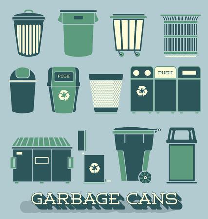 쓰레기와 재활용 캔의 벡터 설정 일러스트