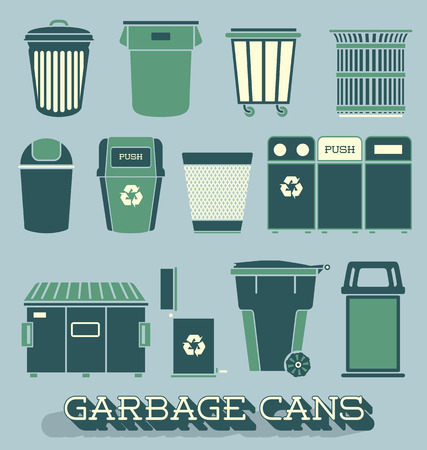 Vector Set of Garbage and Recycling Cans Vector