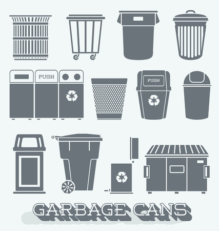 Vector Set of Garbage and Recycling Cans Illustration