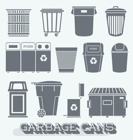 Vector Set de boîtes à ordures et de recyclage Banque d'images - 27528515