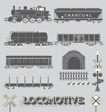 Vector Set of Model Train Collection  Ilustrace