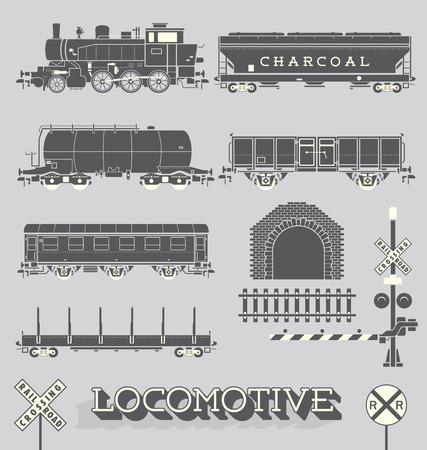 bieżnia: Wektor Zestaw model pociągu Collection Ilustracja