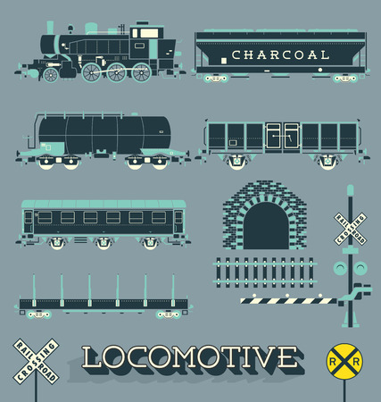 caboose: Vector Set of Model Train Collection  Illustration