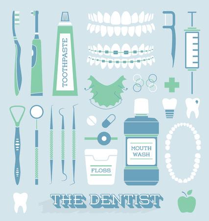 enjuague bucal: Vector Conjunto de dentista y del cuidado del diente Icons