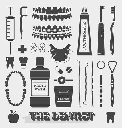 pasta de dientes: Vector Conjunto de dentista y del cuidado del diente Icons