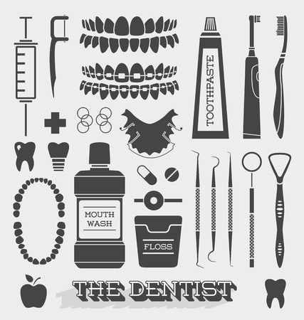 toothpaste: Vector Set of Dentist and Tooth Care Icons