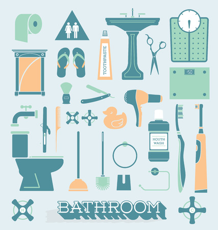 pedestal sink: Vector Set of Bathroom Icons and Silhouettes