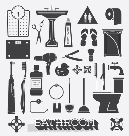 Vector Set of Bathroom Icons and Silhouettes Vector