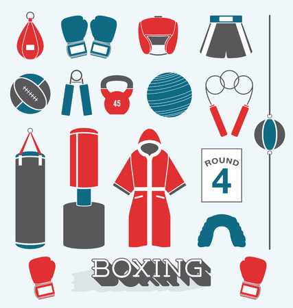 Set of Boxing Objects and Icons Vector