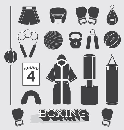 Set  Boxing Objects and Icons Vector