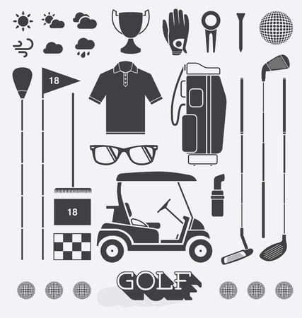 golf stick: Conjunto de equipos de golf iconos y siluetas