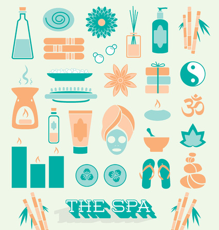 soothing: Set of Day at The Spa Icons and Symbols Illustration