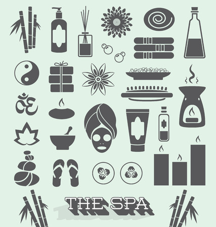 facial care: Set of Day at The Spa Icons and Symbols Illustration