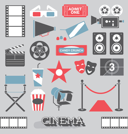 ticket icon: Set of Cinema and Movie Icons and Elements