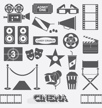 Set of Cinema and Movie Icons and Elements