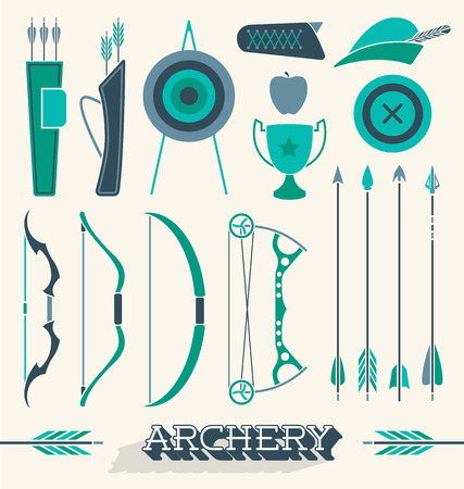 archery: Vector Set of Archery Icons and Silhouettes Illustration