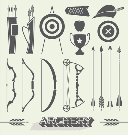Vector Set of Archery Icons and Silhouettes Illustration