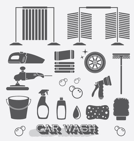 洗車アイコンおよびシルエットのセット  イラスト・ベクター素材