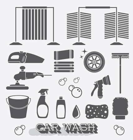 Set of Car Wash Icons and Silhouettes Vector
